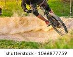 mountain biker going fast... | Shutterstock . vector #1066877759