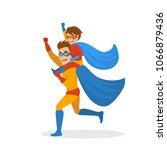 father and son playing... | Shutterstock .eps vector #1066879436
