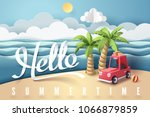 paper art of red car park at... | Shutterstock .eps vector #1066879859