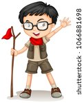 a boy scout on white background ...   Shutterstock .eps vector #1066881698