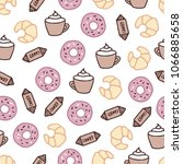 coffee and sweets seamless... | Shutterstock .eps vector #1066885658