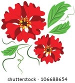 Red Flowers  Vector.