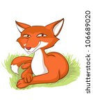 sly fox lying on the grass ... | Shutterstock .eps vector #106689020