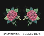 red roses and green leaves... | Shutterstock . vector #1066891076