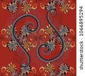 textile print for bed linen ... | Shutterstock .eps vector #1066895294