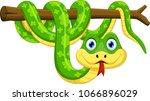 cute green snake cartoon on... | Shutterstock .eps vector #1066896029