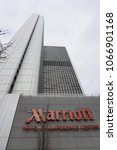 Small photo of FRANKFURT, GERMANY - MARCH 10, 2018: Frankfurt Marriott Hotel is a modern accommodation with award-winning service, located only moments away from the main train station and other tourist attraction.