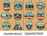set of summer camp badges on... | Shutterstock .eps vector #1066907009