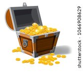 piratic trunk chests with gold... | Shutterstock .eps vector #1066908629