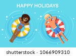 smile woman  man swims  tanning ... | Shutterstock .eps vector #1066909310