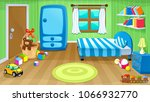 funny bedroom with toys. vector ... | Shutterstock .eps vector #1066932770