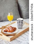 breakfast in bed. coffee and... | Shutterstock . vector #1066937456
