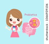 woman with probiotics on the... | Shutterstock . vector #1066939106