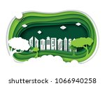 green eco friendly urban city... | Shutterstock .eps vector #1066940258