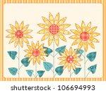 patchwork sunflowers card.... | Shutterstock .eps vector #106694993