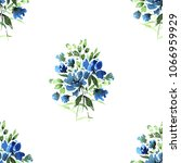 watercolor floral seamless... | Shutterstock . vector #1066959929