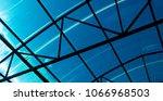 blue glass roof. glass...   Shutterstock . vector #1066968503