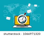 laptop with email letter and... | Shutterstock .eps vector #1066971320