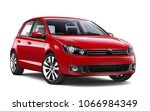 Stock photo  d illustration of red compact car on white 1066984349
