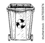 trash in garbage cans with... | Shutterstock .eps vector #1067003876