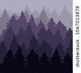 fog firry forest landscape. fir ...   Shutterstock .eps vector #1067013878