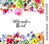 watercolor floral background.... | Shutterstock . vector #1067015939