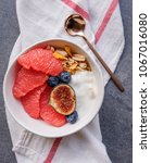healthy morning breakfast  ... | Shutterstock . vector #1067016080