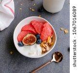 healthy morning breakfast  ... | Shutterstock . vector #1067016089