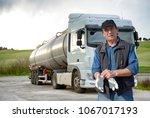truck drivers and truck | Shutterstock . vector #1067017193