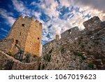 Small photo of PIERIA, MACEDONIA, GREECE- November 25, 2014. The octagonal tower inside the byzantine castle of Platamonas, Municipality of Olympus - Dion.