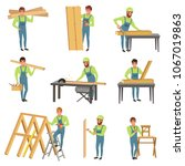 cartoon set of carpenter... | Shutterstock .eps vector #1067019863