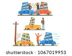 car road accident resulting in... | Shutterstock .eps vector #1067019953