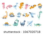 funky stylized dinosaurs real... | Shutterstock .eps vector #1067020718