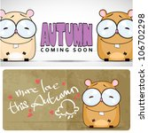 autumnal vector card with funny ... | Shutterstock .eps vector #106702298