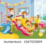 illustration with play room and ... | Shutterstock .eps vector #1067025809