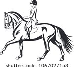 a logo of a dressage rider on a ... | Shutterstock .eps vector #1067027153