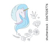 illustration with a cute mystic ... | Shutterstock .eps vector #1067028776