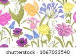 spring flowers. flower vintage... | Shutterstock .eps vector #1067033540