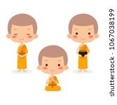monks and novice in buddhism ... | Shutterstock .eps vector #1067038199