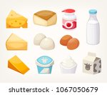 Set Of Most Common Dairy Food...