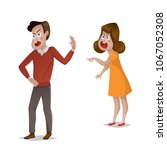 quarrel. young couple arguing.... | Shutterstock .eps vector #1067052308