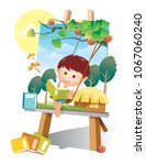 book reading on trapeze | Shutterstock .eps vector #1067060240