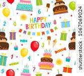 birthday party cartoon seamless ... | Shutterstock .eps vector #1067069024
