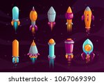 cartoon colorful space missile...