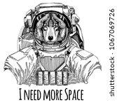 wolf dog astronaut. space suit. ... | Shutterstock .eps vector #1067069726
