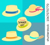 straw casual summer hats with... | Shutterstock .eps vector #1067070770