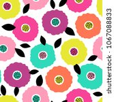 colorful hand drawn floral... | Shutterstock .eps vector #1067088833