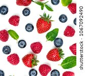 berry pattern. fresh berries... | Shutterstock . vector #1067092490
