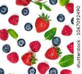 berry pattern. fresh berries... | Shutterstock . vector #1067092490