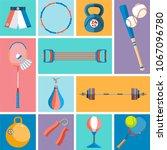banner of sport balls and... | Shutterstock .eps vector #1067096780